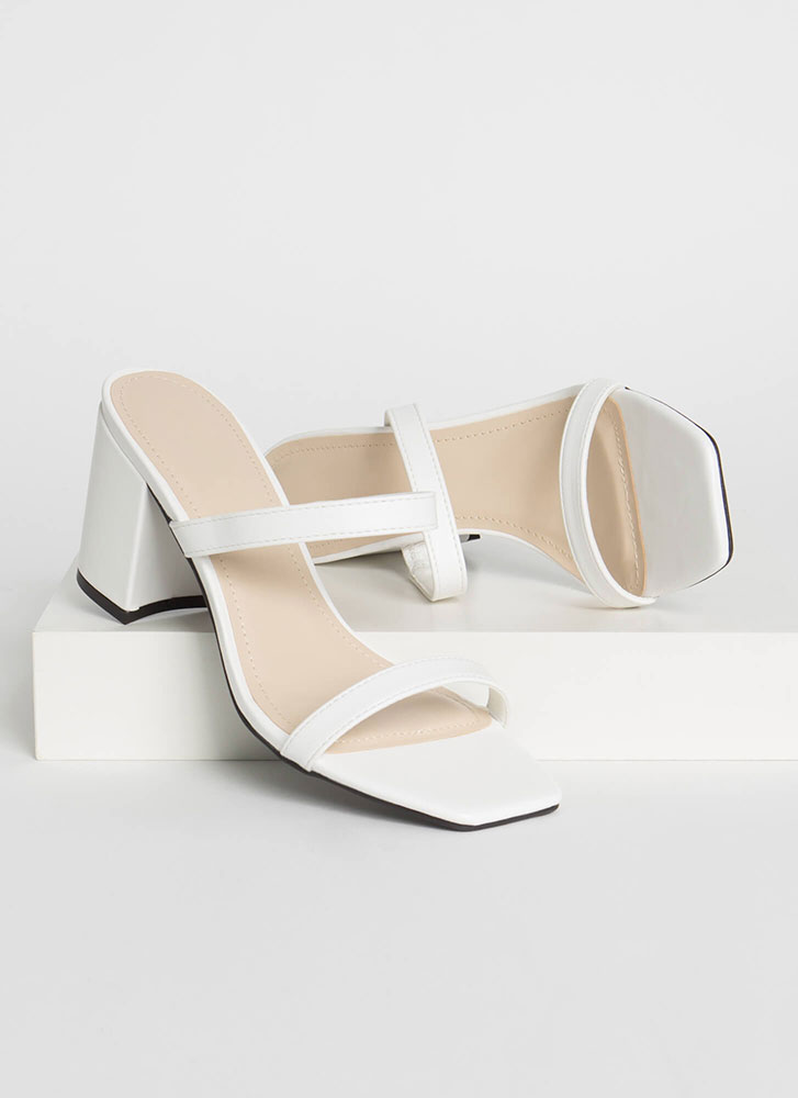 Forever Yours Strappy Block Heels WHITE