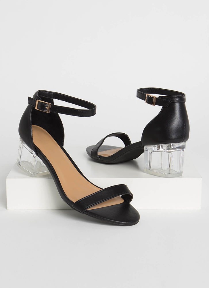 It's So Clear Strappy Lucite Block Heels BLACK (Final Sale)
