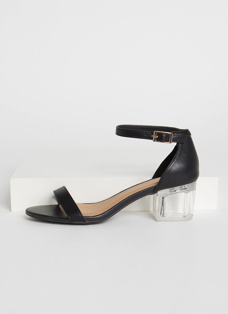 It's So Clear Strappy Lucite Block Heels BLACK