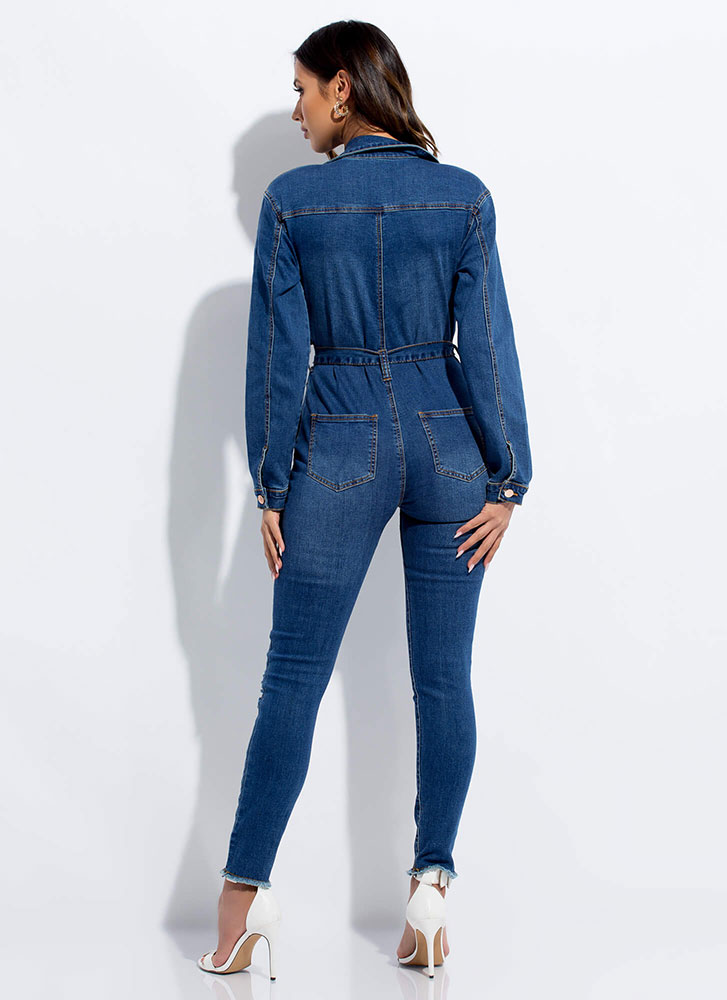 Tie Game Distressed Denim Jumpsuit BLUE