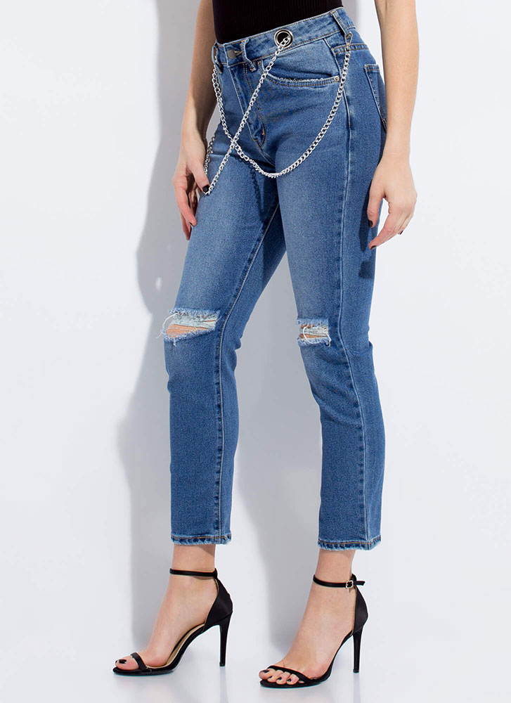 Link About Me Draped Chain Jeans BLUE