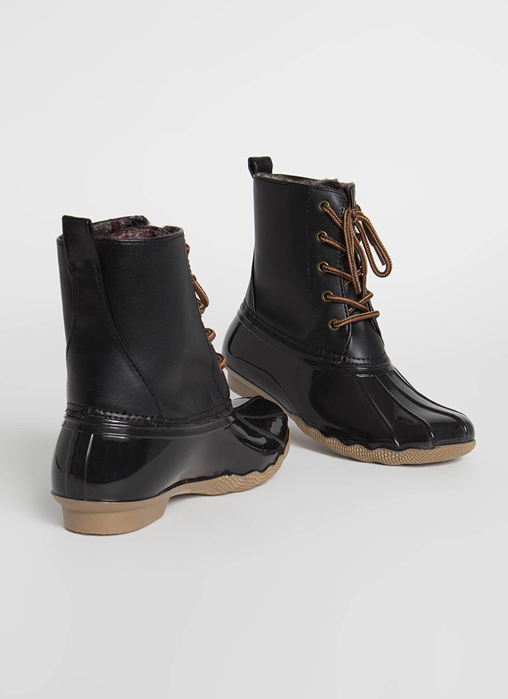 Just No Other Wade Lace-Up Duck Boots BLACK