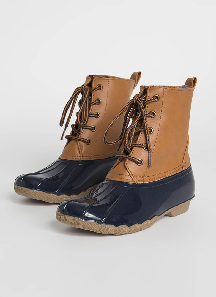 Just No Other Wade Lace-Up Duck Boots NAVY