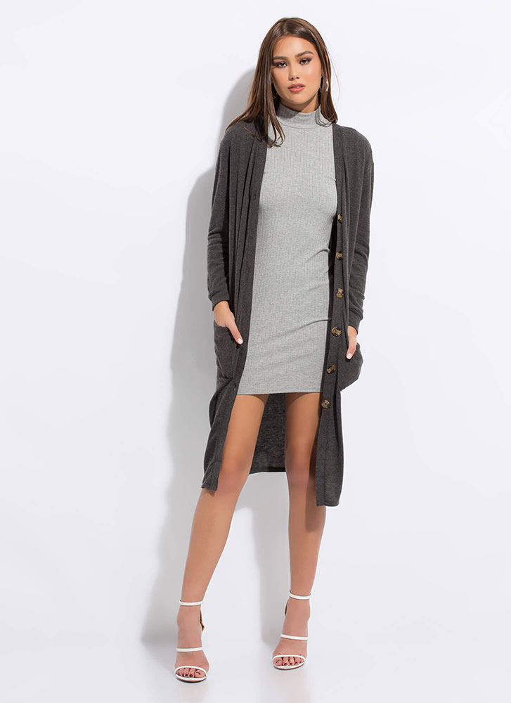 Go Long Knit Button-Up Cardigan CHARCOAL