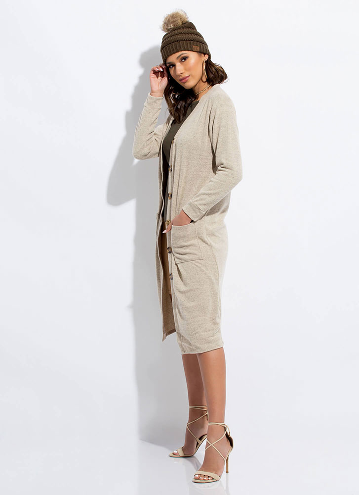 Go Long Knit Button-Up Cardigan OATMEAL