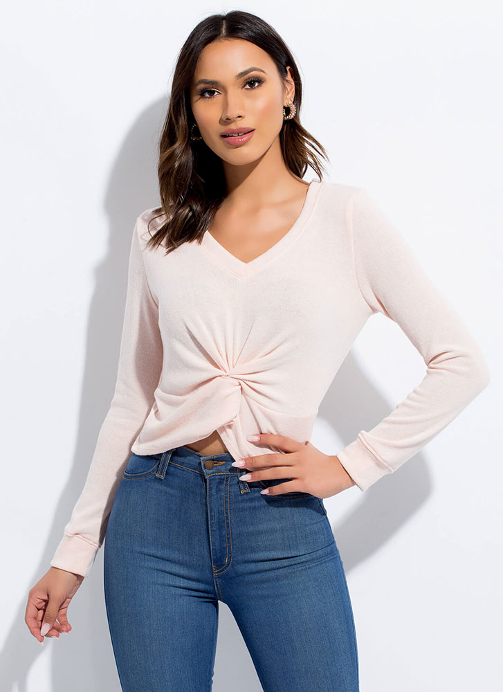 New Addition Twist-Front Knit Top ROSE