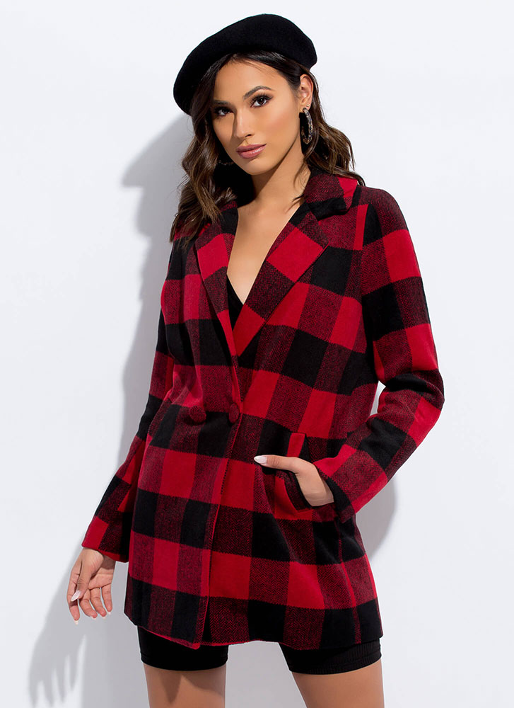 Check Me Out Buffalo Plaid Coat RED