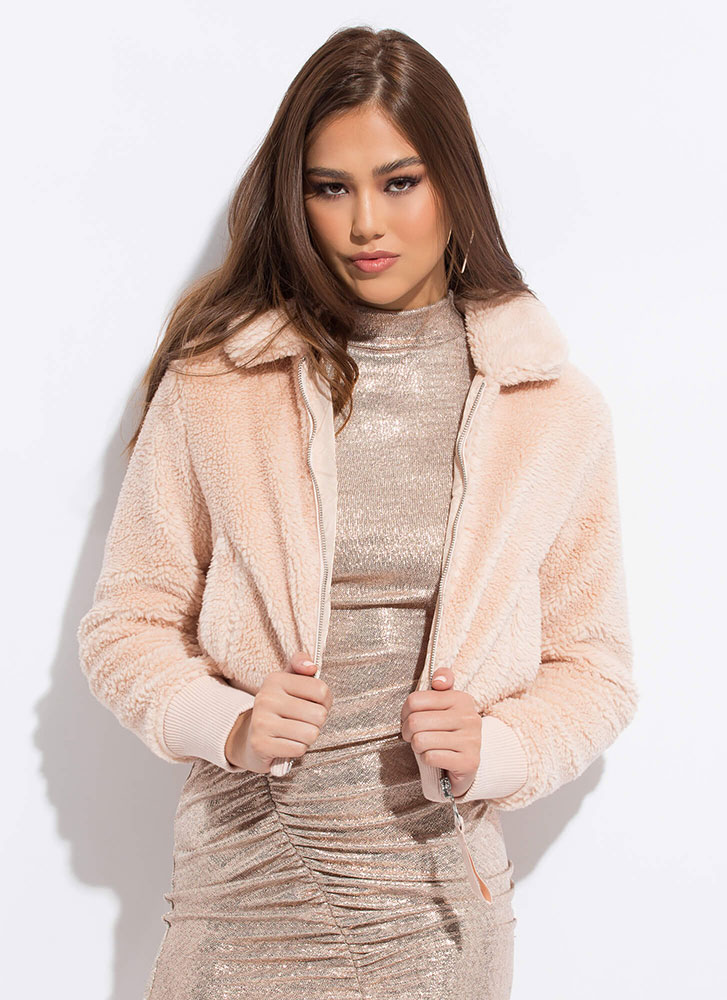 Fluff Love Faux Fur Bomber Jacket BLUSH