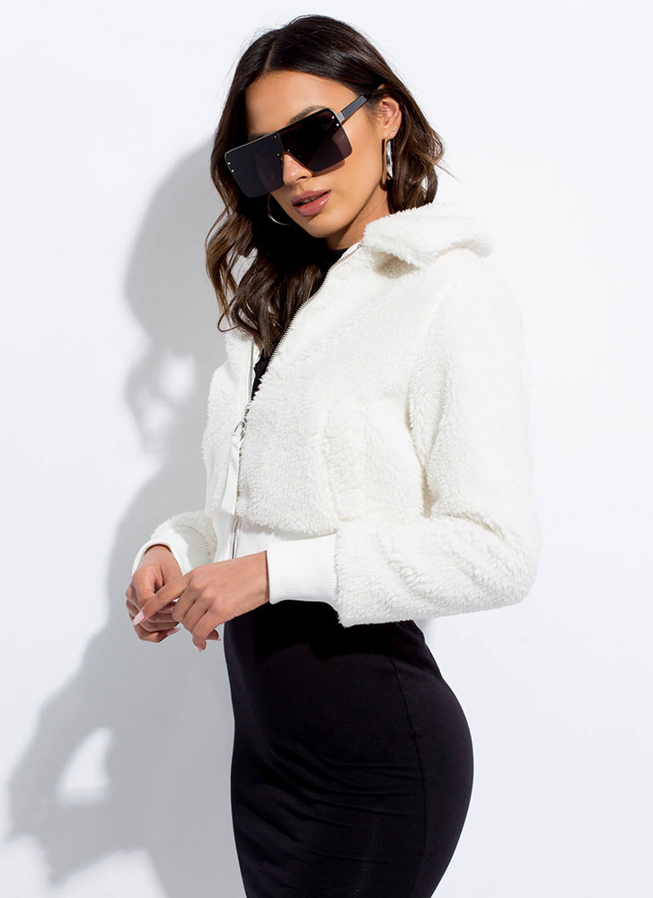 Fluff Love Faux Fur Bomber Jacket IVORY