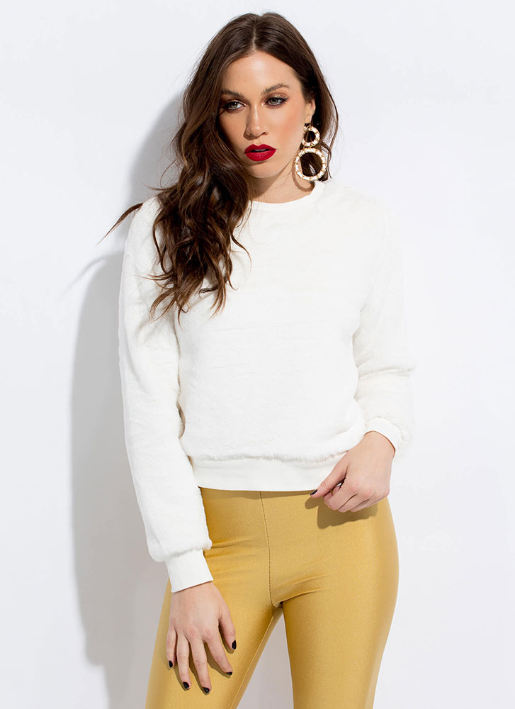 Soft Touch Cropped Faux Fur Sweatshirt IVORY