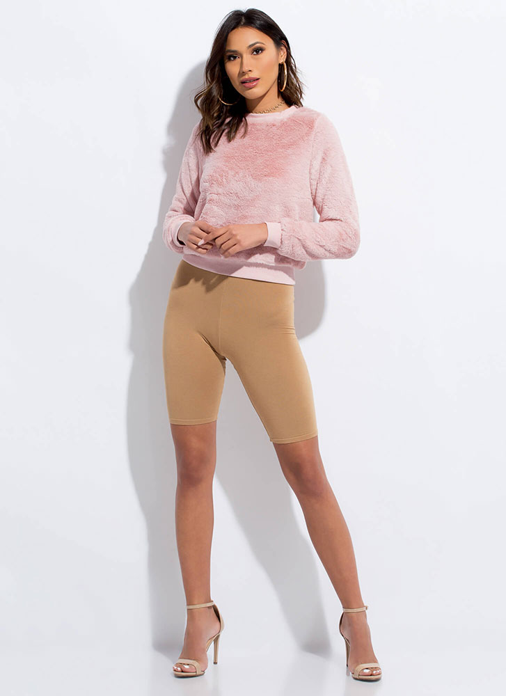 Soft Touch Cropped Faux Fur Sweatshirt PINK