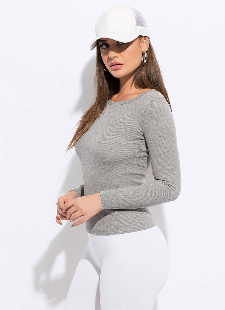 Blame It On The Basic Long-Sleeved Top GREY