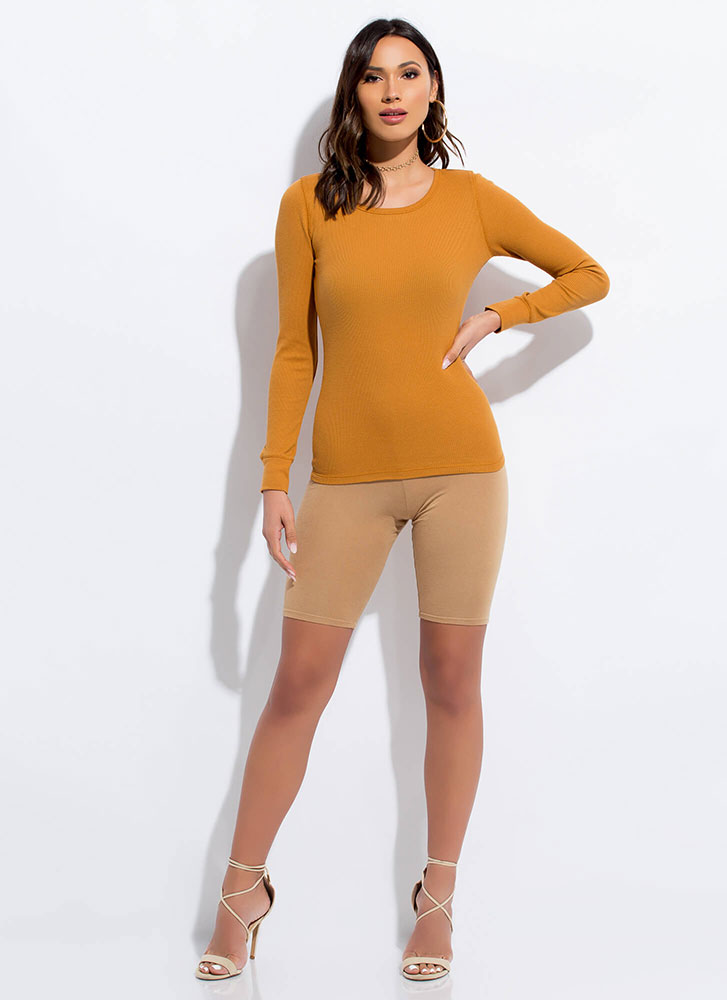 Blame It On The Basic Long-Sleeved Top MUSTARD