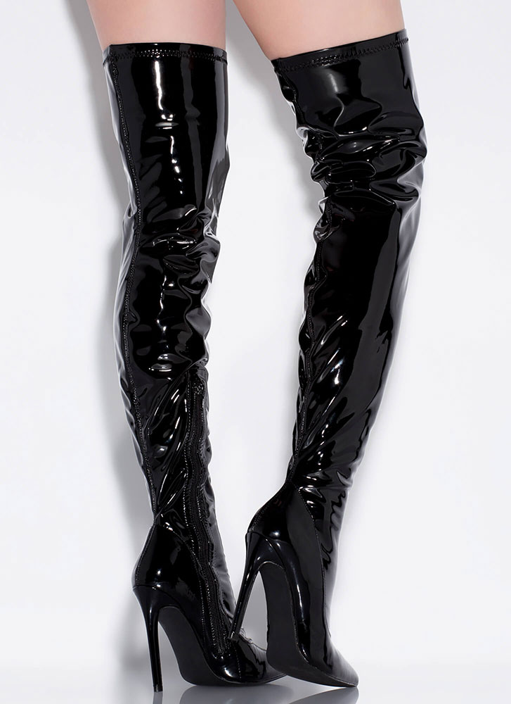Glossin' Faux Patent Thigh-High Boots BLACK