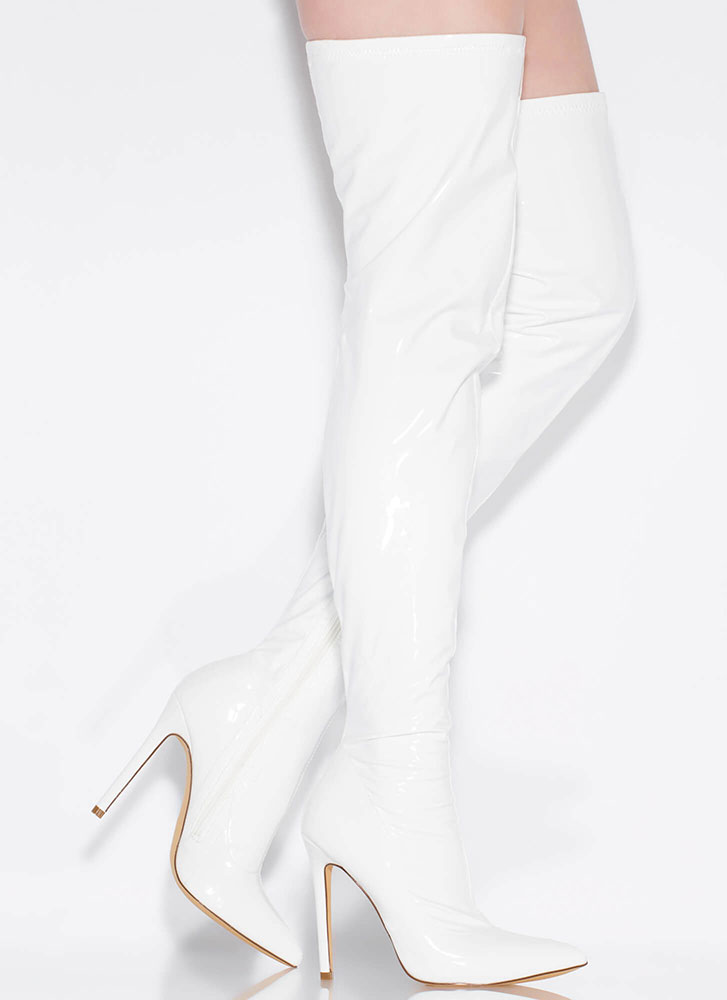 Glossin' Faux Patent Thigh-High Boots WHITE