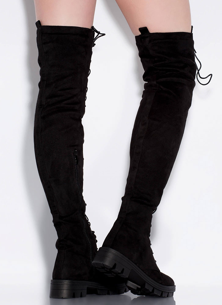Lace Me Up Lug Sole Thigh-High Boots BLACK