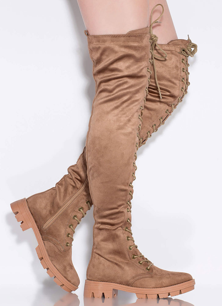 Lace Me Up Lug Sole Thigh-High Boots TAUPE