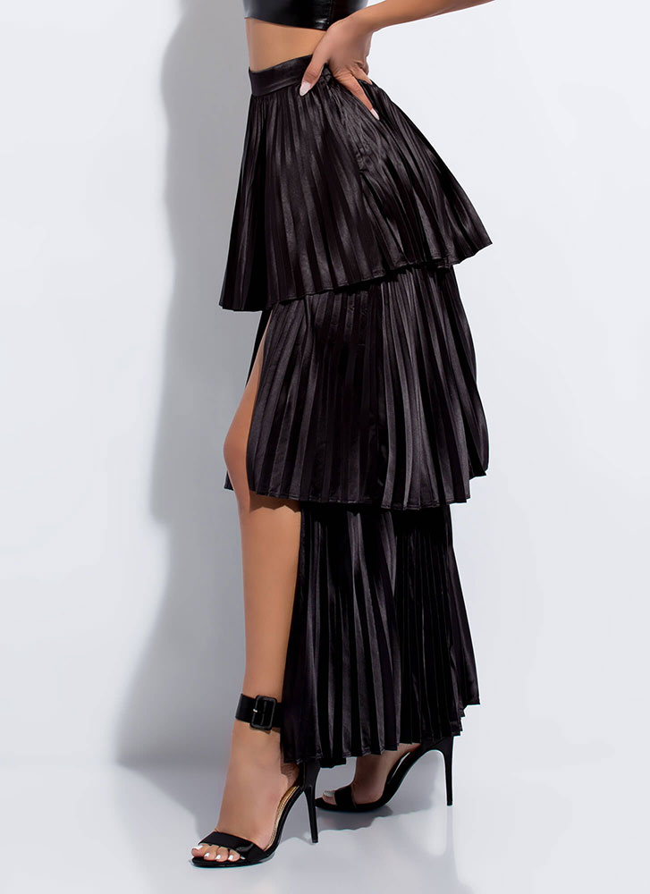 Hey Cupcake Pleated Tiered Maxi Skirt BLACK