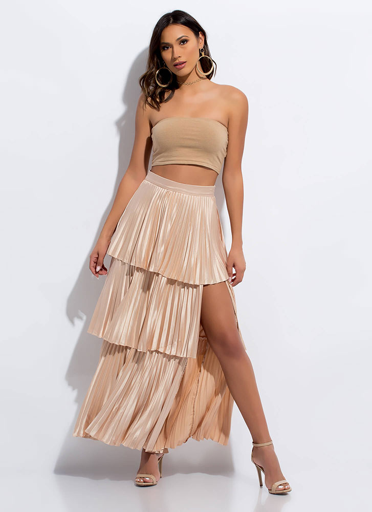 Hey Cupcake Pleated Tiered Maxi Skirt LTTAUPE