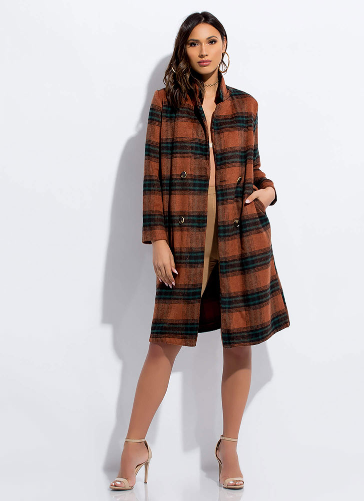 Pick Plaid Double-Breasted Longline Coat BROWN