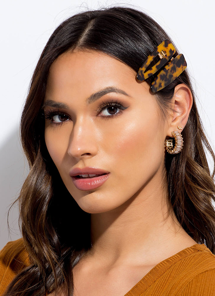 It Takes Two To Tortoise Hair Clip Set BROWN