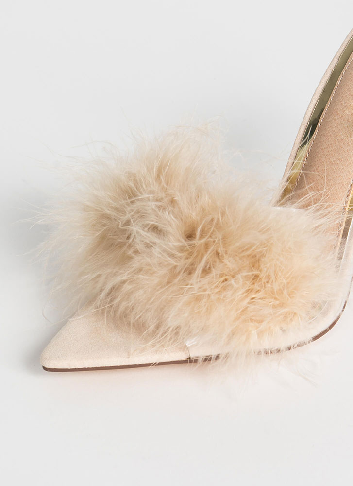 Feather Or Not Clear Peep-Toe Mule Heels NUDE
