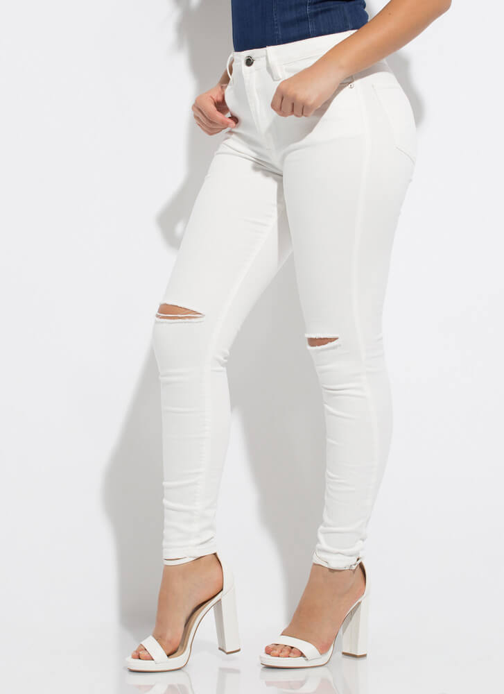 Slits Gonna Be A Good Day Skinny Jeans WHITE