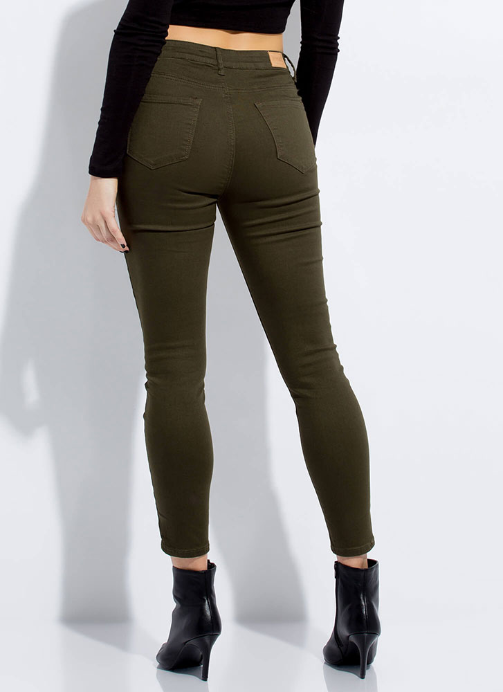 Skinny Pants Mid-Rise Jeggings OLIVE