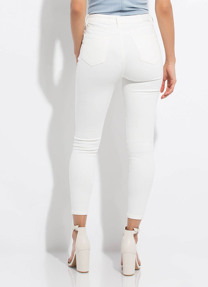 Roughed Up Distressed Denim Skinny Jeans WHITE