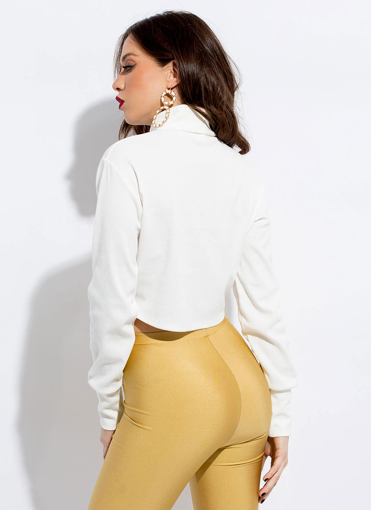 Short And Chic Turtleneck Crop Top WHITE