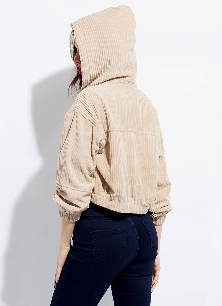 Cool And The Gang Hooded Corduroy Jacket STONE