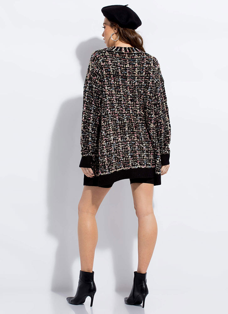Need For Tweed Sparkly Knit Cardigan BLACK