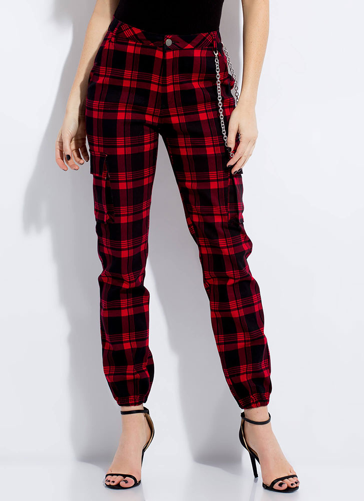 Plaid To The Bone Chained Cargo Joggers RED