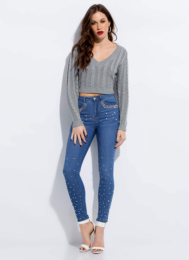 Keep It Short Cropped Cable Knit Sweater GREY