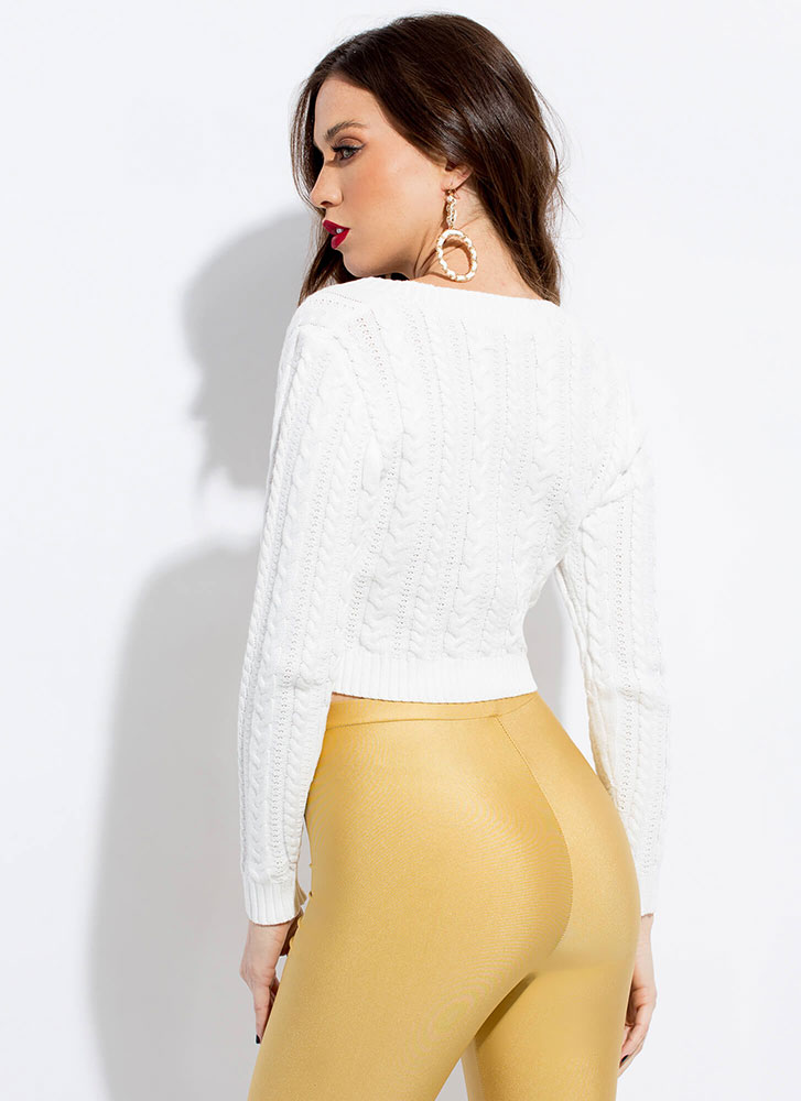 Keep It Short Cropped Cable Knit Sweater WHITE