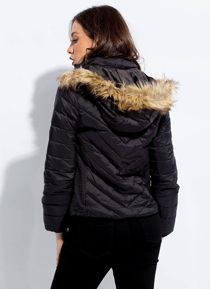 Fur-ever Convertible Hooded Puffy Jacket BLACK
