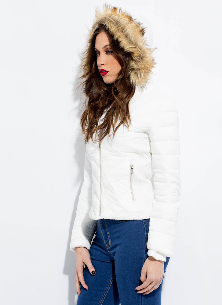 Fur-ever Convertible Hooded Puffy Jacket WHITE