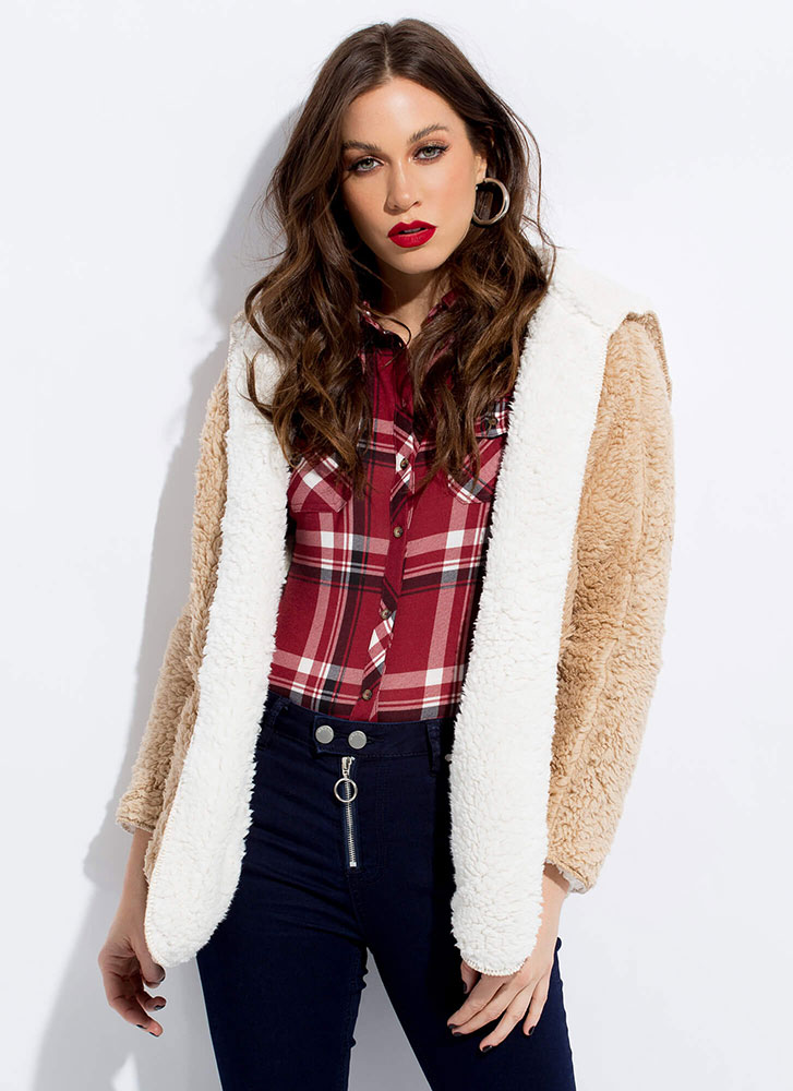 Two-Fur Hooded Faux Shearling Jacket TAUPE