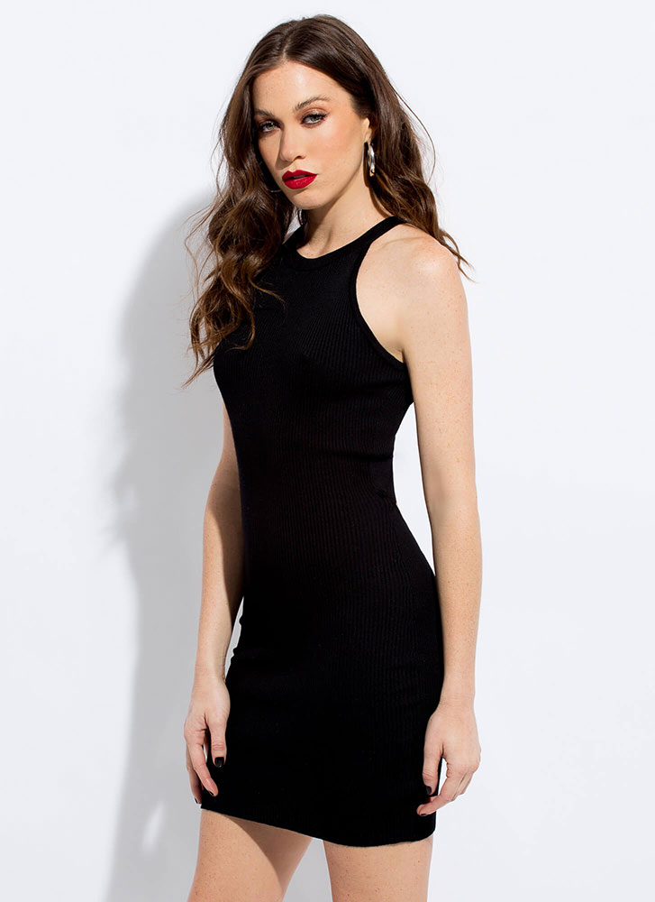 Your Turn Knit Back Cut-Out Minidress BLACK