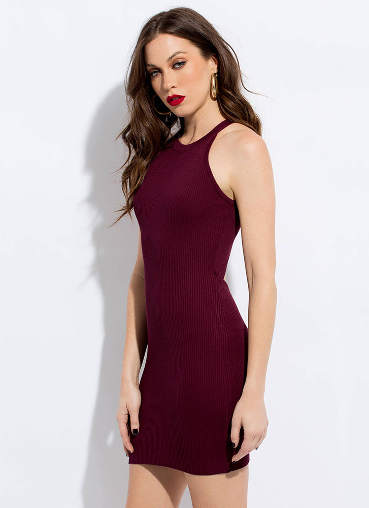 Your Turn Knit Back Cut-Out Minidress BURGUNDY
