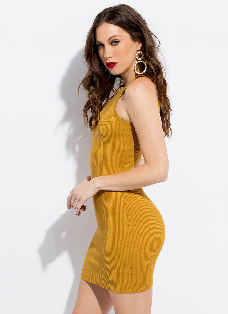 Your Turn Knit Back Cut-Out Minidress MUSTARD