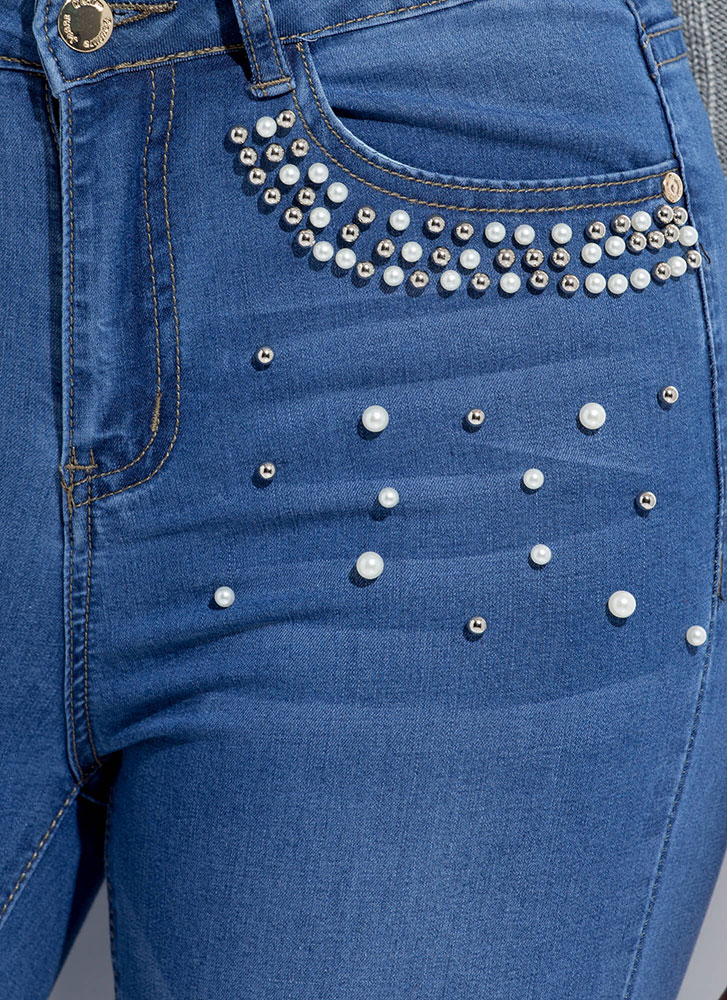 Girl With The Pearl-Studded Skinny Jeans BLUE