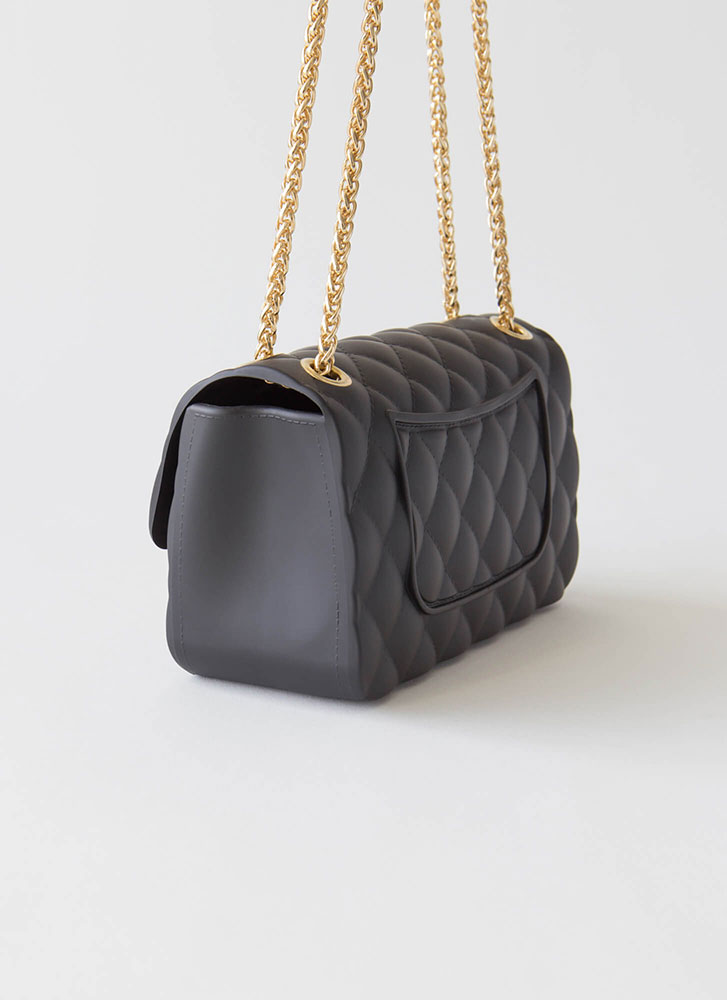 Don't Be Jelly Faux Quilted Mini Purse BLACK