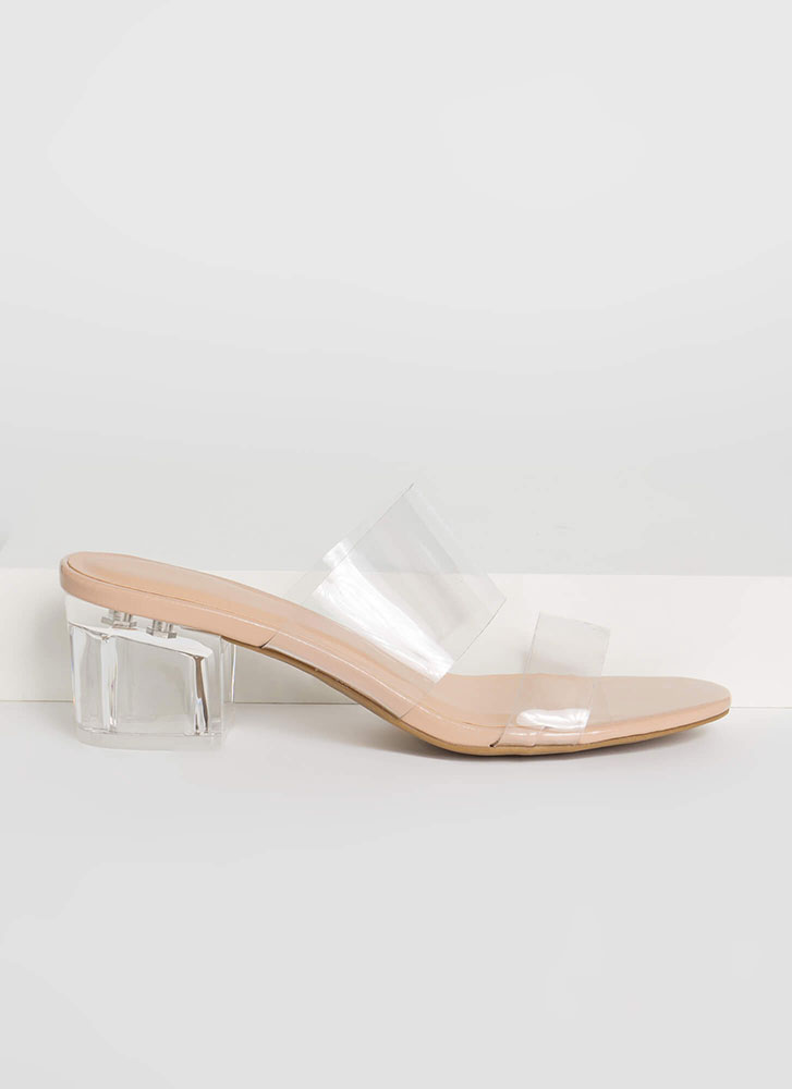 Illusion Clear Strap Lucite Block Heels NUDE