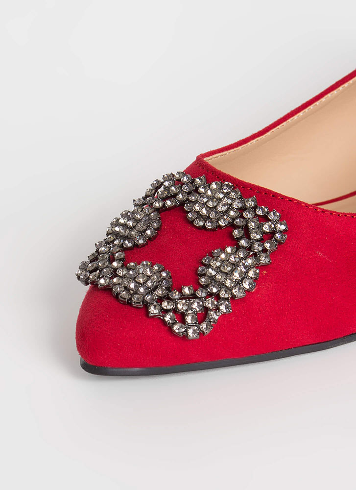 Rare Beauty Jeweled Accent Flats RED