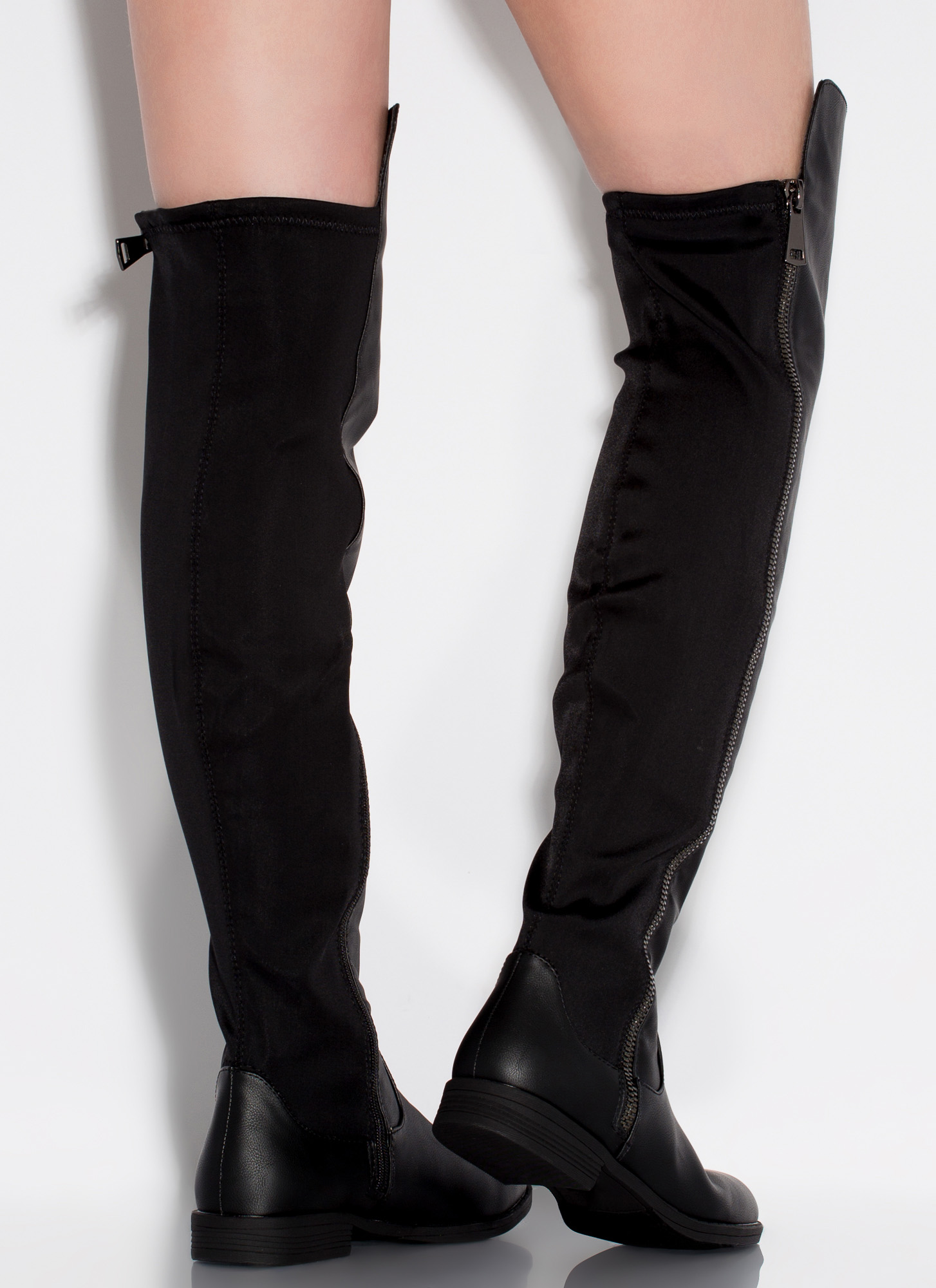 Leg Up Faux Leather Thigh-High Boots BLACK