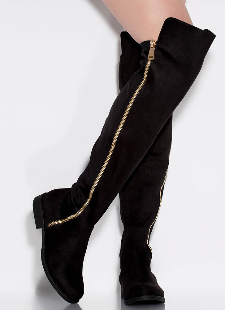Leg Up Faux Suede Thigh-High Boots BLACK