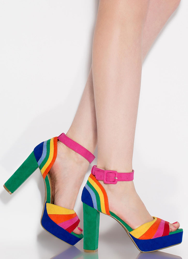 Rainbow Days Chunky Colorblock Platforms HOTPINK