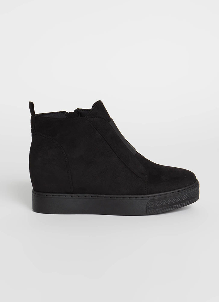Rise To The Occasion Wedge Booties BLACK