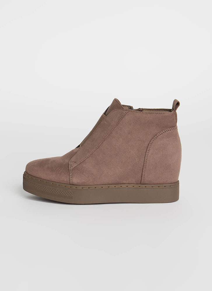 Rise To The Occasion Wedge Booties TAUPE (Final Sale)